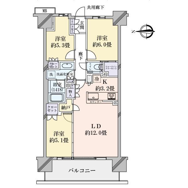クラッシィハウス湘南藤沢の間取図/6F/5,580万円/3LDK/70.56 m²