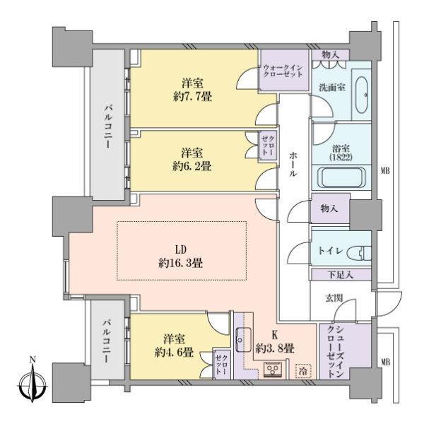 高輪ザ・レジデンスの間取図/18F/14,800万円/3LDK/97.57 m²