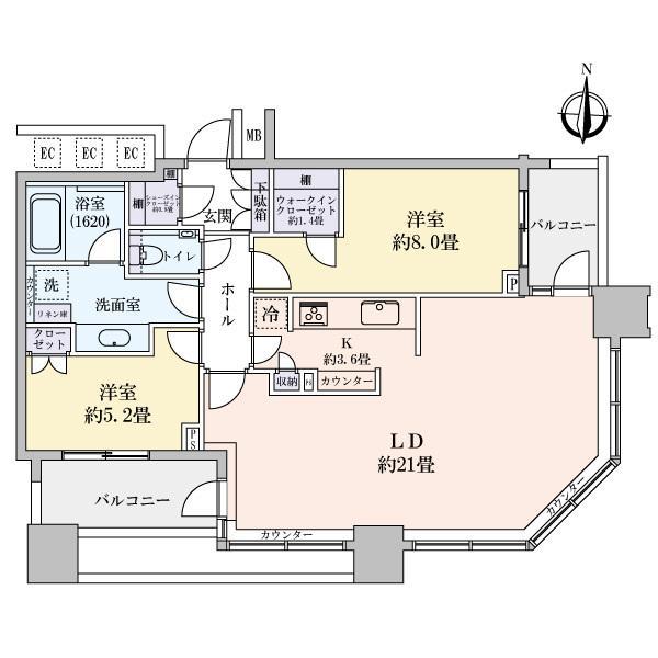 スカイズタワー&ガーデンの間取図/40F/11,000万円/2LDK/84.94 m²