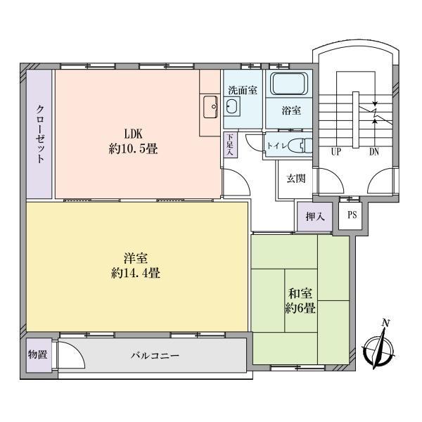 マンション相模原1号館の間取図/2F/930万円/2LDK/68.07 m²