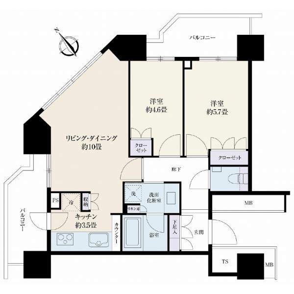 ザ・タワーレジデンス大塚の間取図/8F/5,480万円/2LDK/55.09 m²