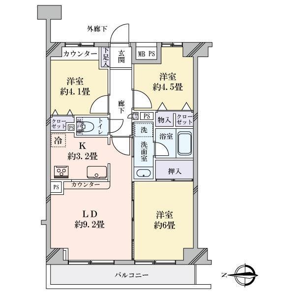 プランヴェール新川崎の間取図/4F/2,480万円/3LDK/62.17 m²