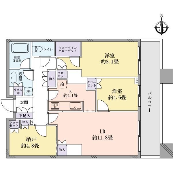 Brilliaタワー東京の間取図/28F/8,800万円/2SLDK/78.58 m²