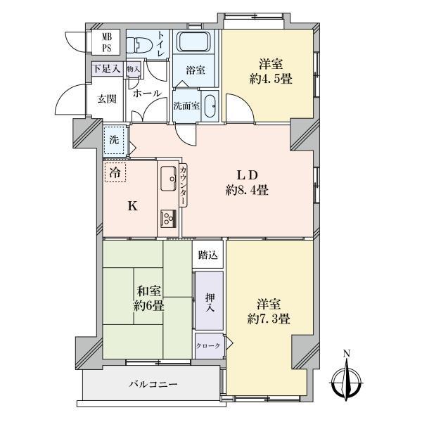 東建島津山南ハイツの間取図/9F/5,000万円/3LDK/62.58 m²