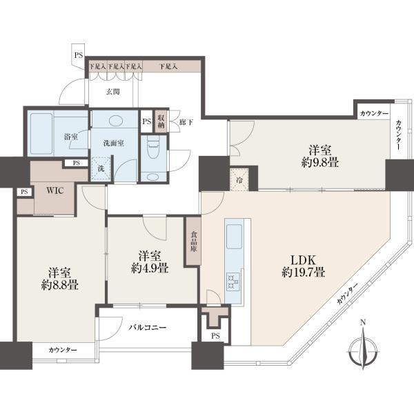 ラグナタワーの間取図/28F/9,530万円/3LDK/105.41 m²