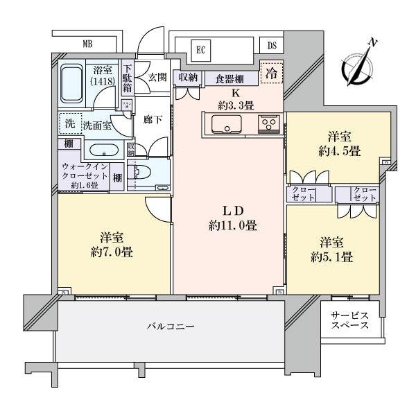 スカイズタワー&ガーデンの間取図/16F/6,400万円/3LDK/69.95 m²