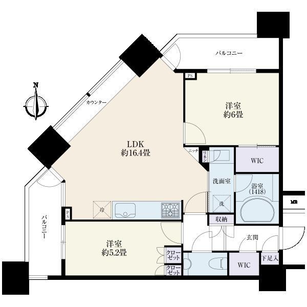 ミッドサザン・レジデンス御殿山の間取図/20F/7,800万円/2LDK/61.48 m²