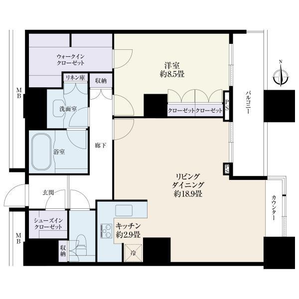 高輪ザ・レジデンスの間取図/31F/11,800万円/1LDK/78.54 m²