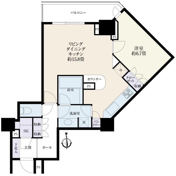 ラグナタワーの間取図/4F/4,480万円/1LDK/57.36 m²