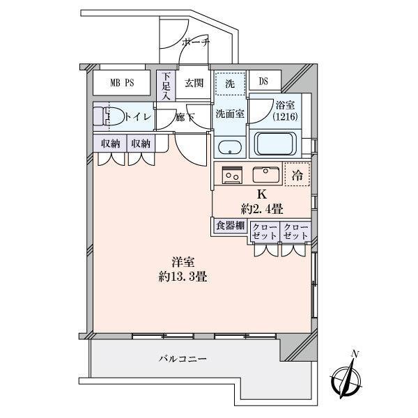 プリヴェール目黒行人坂の間取図/10F/4,990万円/1K/38.16 m²
