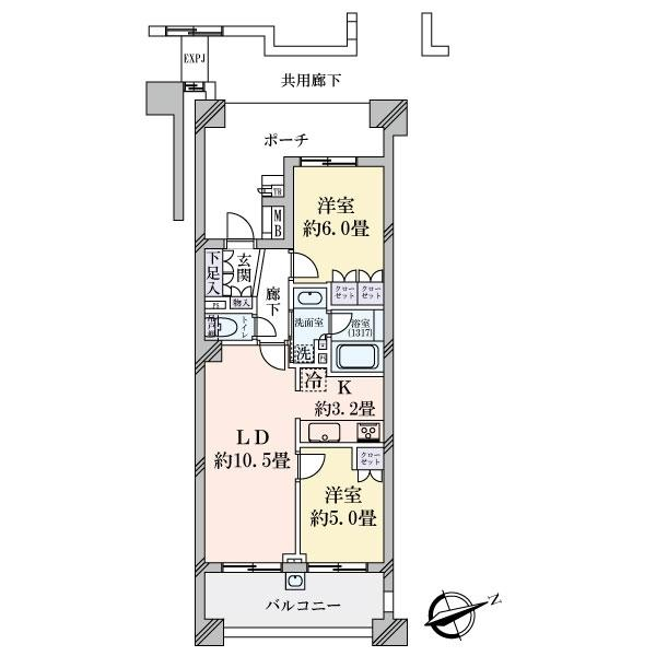 グランエスタの間取図/4F/4,200万円/2LDK/54.94 m²