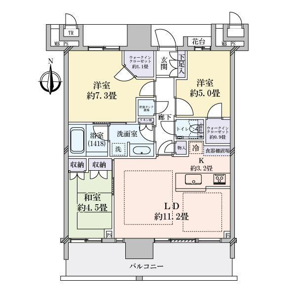 THE TOYOSU TOWER(ザ・豊洲タワー)の間取図/23F/7,800万円/3LDK/70.86 m²