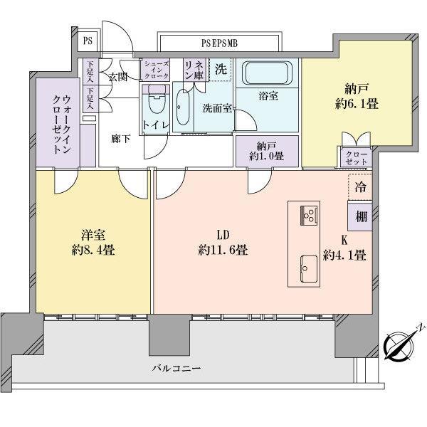 Brillia Grandeみなとみらいの間取図/17F/8,350万円/1SLDK/73.82 m²