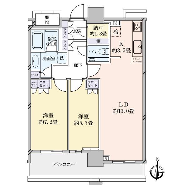ブリリアタワー名古屋グランスイートの間取図/13F/11,000万円/2LDK/69.27 m²