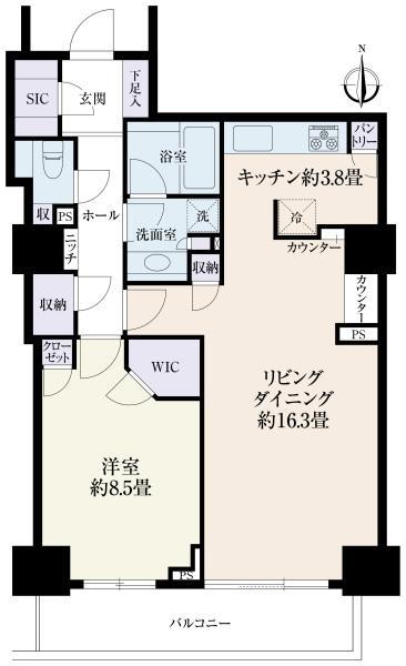 ラグナタワーの間取図/15F/5,480万円/1LDK/70.07 m²