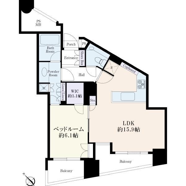 品川Vタワーの間取図/5F/6,780万円/1LDK/53 m²