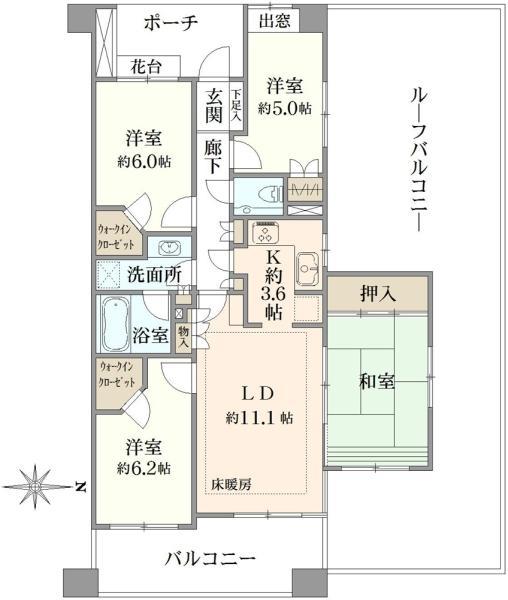 グランステージ南浦和の間取図/8F/3,600万円/4LDK/85.95 m²