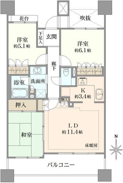グランステージ南浦和の間取図/3F/3,180万円/3LDK/71.81 m²