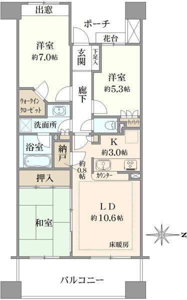 グランステージ南浦和の間取図/3F/3,280万円/3LDK/71.99 m²