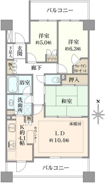 グランステージ南浦和A棟の間取図/3F/3,580万円/3LDK/75.32 m²