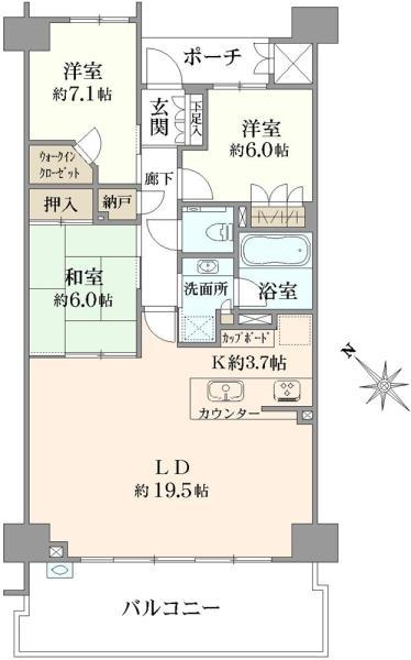 ブリリア稲毛海浜公園の間取図/5F/3,590万円/3LDK/92.68 m²