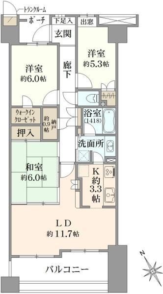 エムステージ・イースティアの間取図/6F/4,580万円/3LDK/76.66 m²