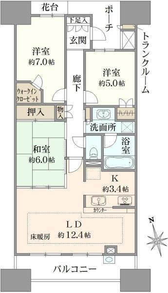 グランエスタの間取図/20F/6,280万円/3LDK/76.82 m²
