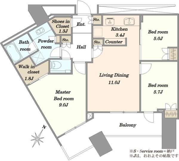 スカイズタワーガーデンの間取図/38F/8,480万円/3LDK/81.13 m²