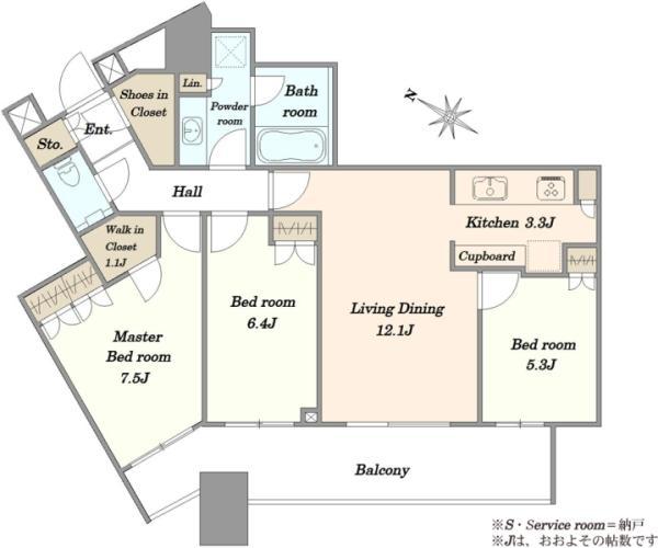 スカイズタワーガーデンの間取図/39F/8,880万円/3LDK/80.98 m²