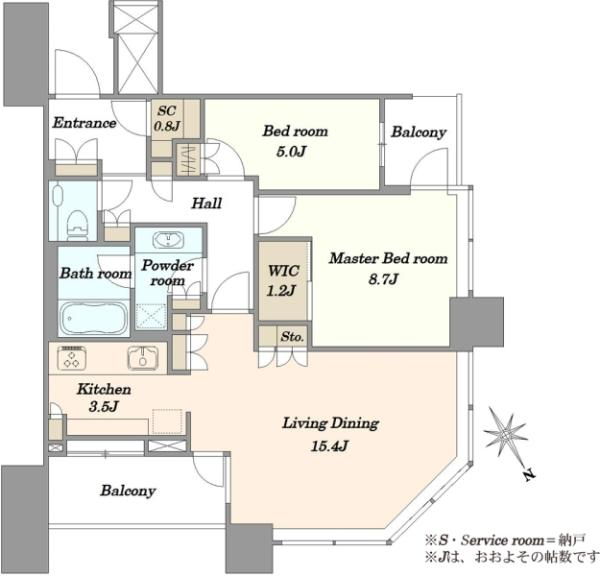 スカイズタワーガーデンの間取図/43F/8,780万円/2LDK/80.07 m²