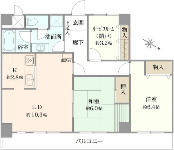 シティハイツ東十条の間取図/8F/3,680万円/2SLDK/69.2 m²