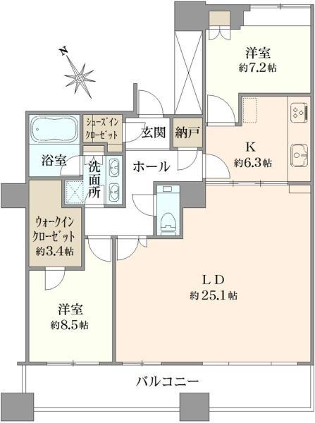エアライズタワーの間取図/42F/18,600万円/2LDK/106.86 m²