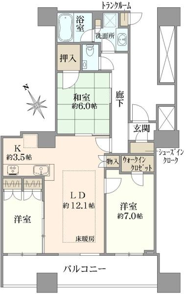 エアライズタワーの間取図/24F/9,480万円/3LDK/77.24 m²