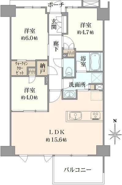 ブリリア大山ザ・レジデンスの間取図/3F/4,780万円/3SLDK/66.81 m²