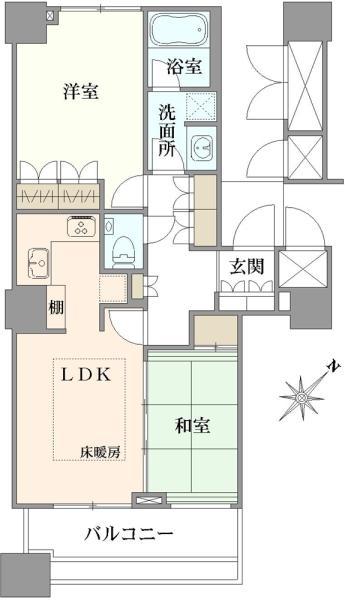 エアライズタワーの間取図/8F/5,980万円/2LDK/55.82 m²