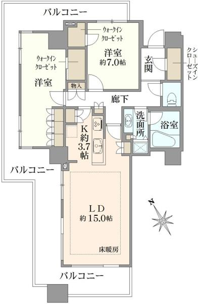 エアライズタワーの間取図/22F/9,320万円/2LDK/84.54 m²