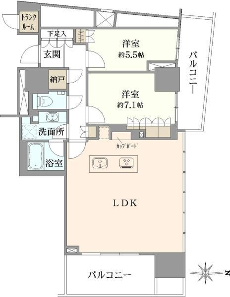 ブリリアタワー池袋の間取図/43F/13,900万円/2LDK/78.06 m²