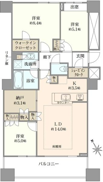 エアライズタワーの間取図/38F/11,000万円/3SLDK/85.12 m²