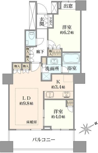 エアライズタワーの間取図/12F/6,380万円/2LDK/54.94 m²