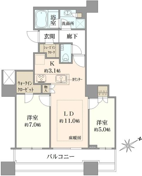 エアライズタワーの間取図/12F/6,950万円/2LDK/62.31 m²