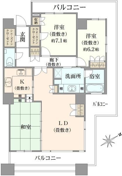 エアライズタワーの間取図/39F/12,500万円/3LDK/92.36 m²
