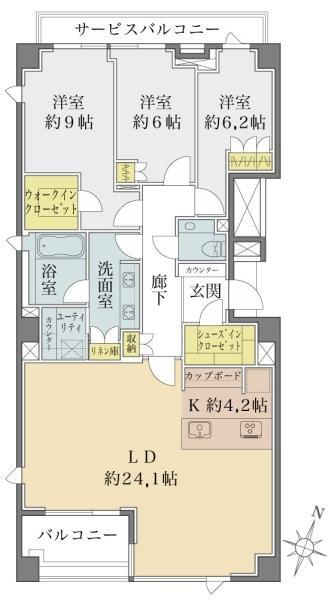 Brillia 高輪 The Court の間取図/3F/24,000万円/3LDK/118.02 m²