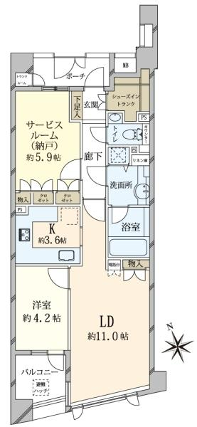 グランヴェール代官山の間取図/2F/7,480万円/1SLDK/60.1 m²