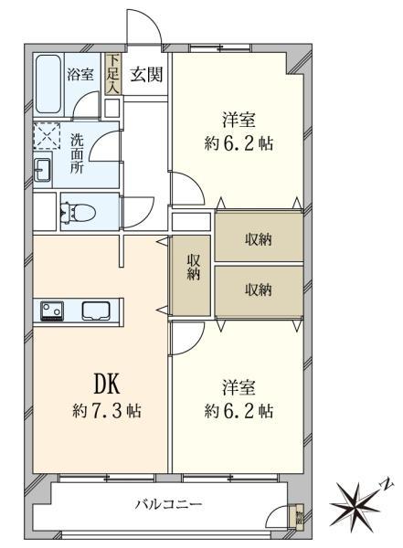 東建マンション学芸大の間取図/1F/3,490万円/2DK/55 m²