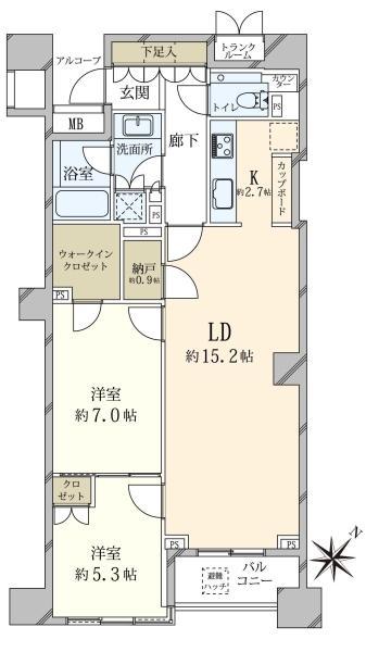 ブリリア代官山プレステージの間取図/3F/13,500万円/2SLDK/73.05 m²