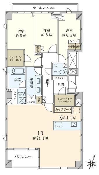 Brillia高輪TheCourtの間取図/3F/23,500万円/3LDK/118.02 m²