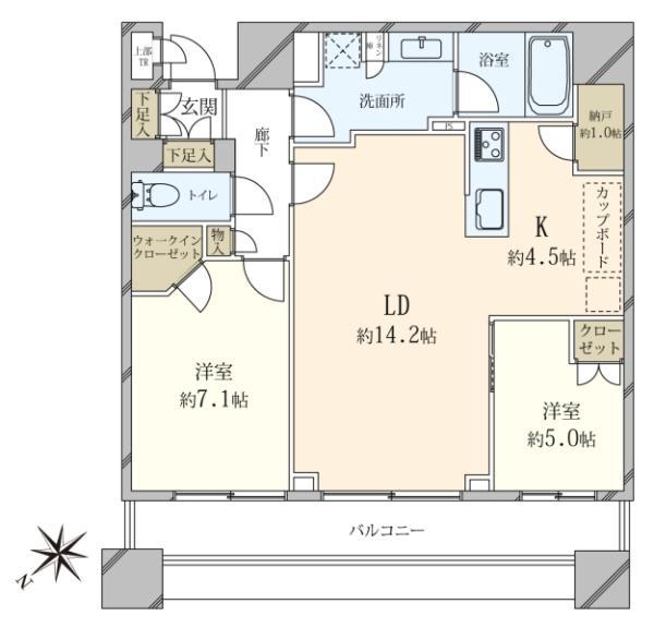 ブリリアタワーズ目黒サウスレジデンスの間取図/31F/17,980万円/2LDK/72.49 m²