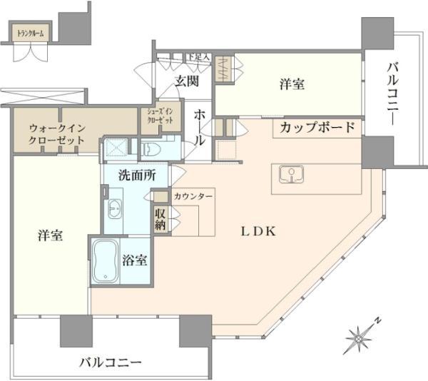 ブリリアグランデみなとみらいオーシャンフロントタワーの間取図/13F/18,500万円/2LDK/101.41 m²