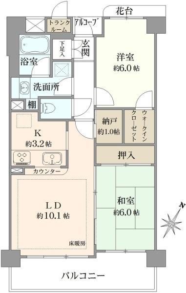 プランヴェール東神奈川の間取図/3F/3,680万円/2LDK/60.81 m²
