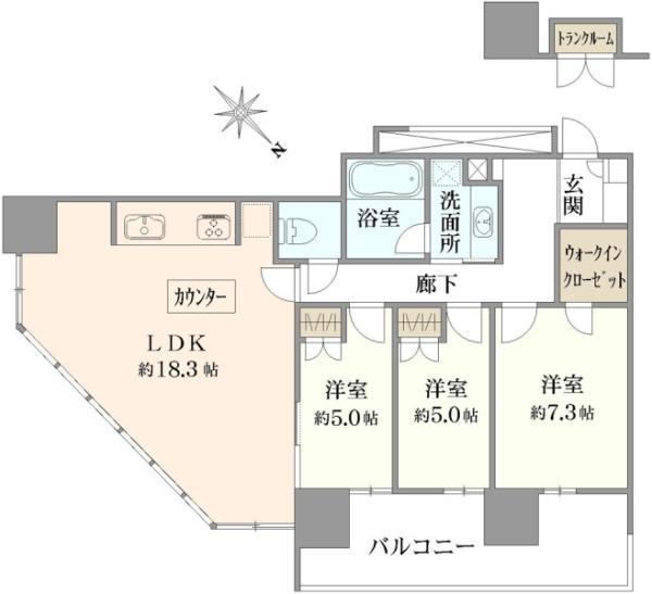 ブリリアグランデみなとみらいパークフロントタワーの間取図/26F/8,480万円/3LDK/82.47 m²